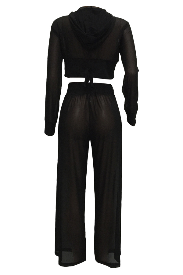 Conjunto de pantalón de dos piezas de poliéster negro transparente See-Through