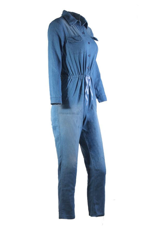 Euramerican Turndown Collar Blue Denim Mono de una pieza
