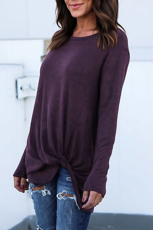 Lovely Leisure Round Neck Asymmetrical Purple Polyester T-shirt