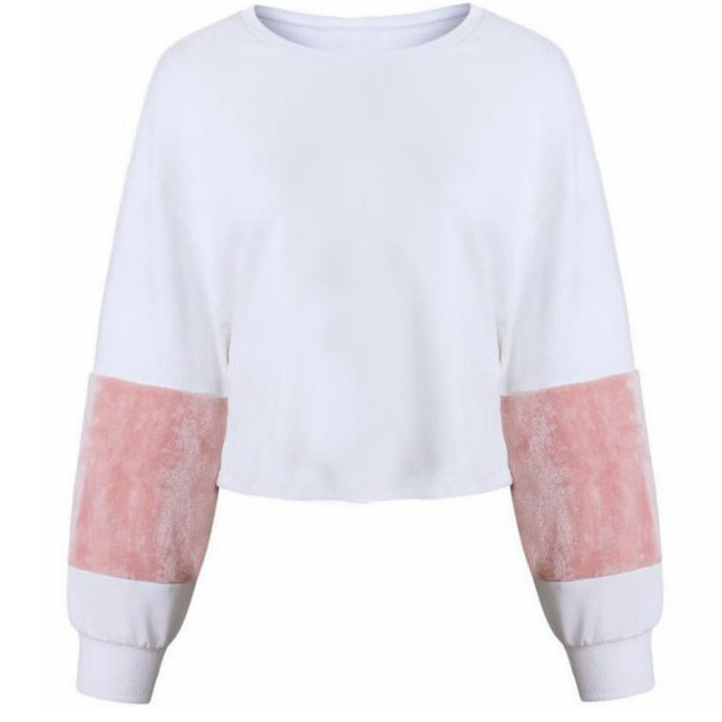 Euramerican Round Neck Patchwork White Cotton Blends Pullovers
