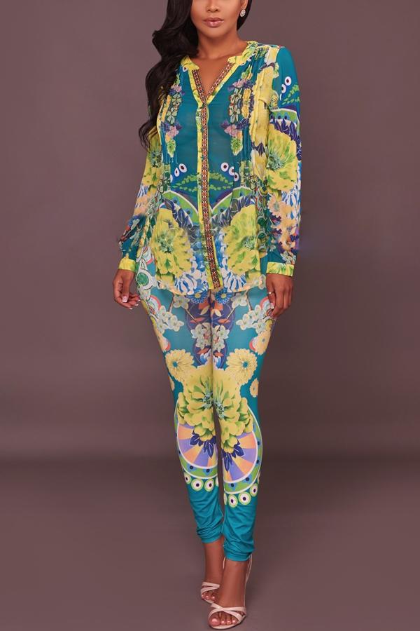 Euramerican V Neck Floral Print Conjunto de pantalones de dos piezas de poliéster verde