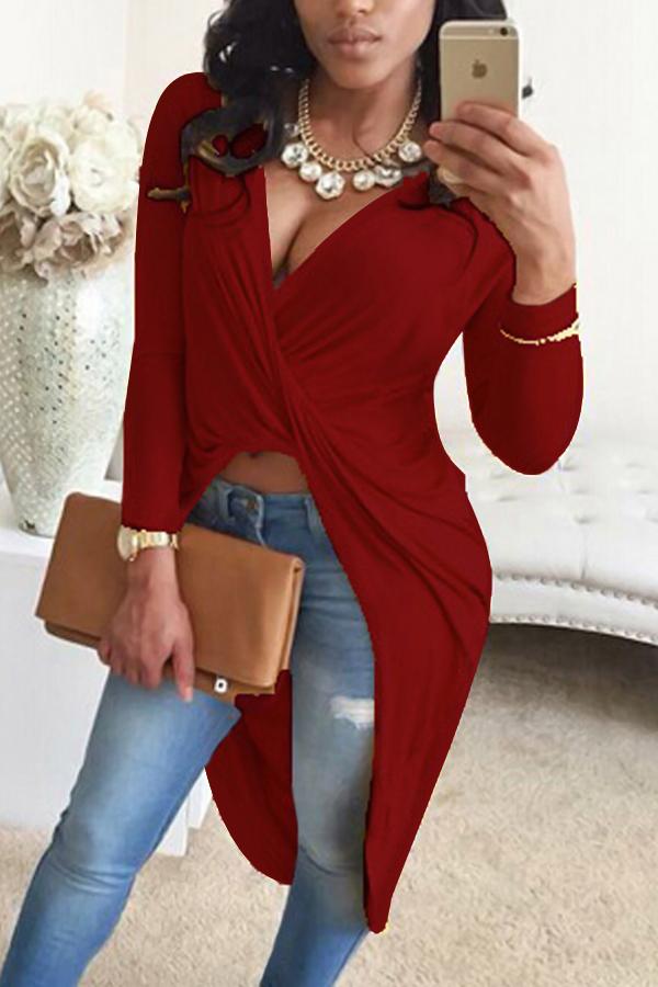 Camisas De Mistura Vermelhas De Vinhas Assimétricas V Com Pescoço Sexy