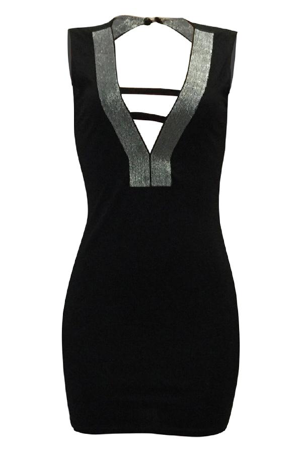 Vestido Mini De La Vaina De Poliéster Negro Ahuecado Hacia Fuera Del Cuello En V Atractivo