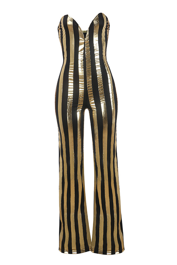 Lovely Sexy Dew Shoulder Striped Black-gold Polyester One-piece Jumpsuits