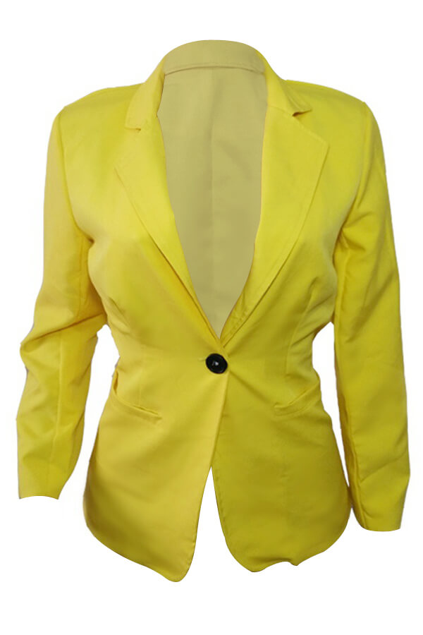 Stylish Turndown Collar Single Button Yellow Polyester Blazer