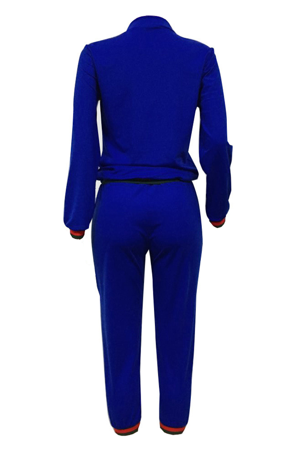Ocio Cremallera Diseño Azul Oscuro Que Hace Punto Pantalones De Dos Piezas