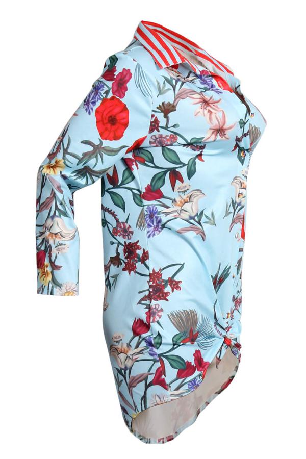 Minivestido de tela saludable azul claro estampado Trendy Turndown Collar (sin correa)