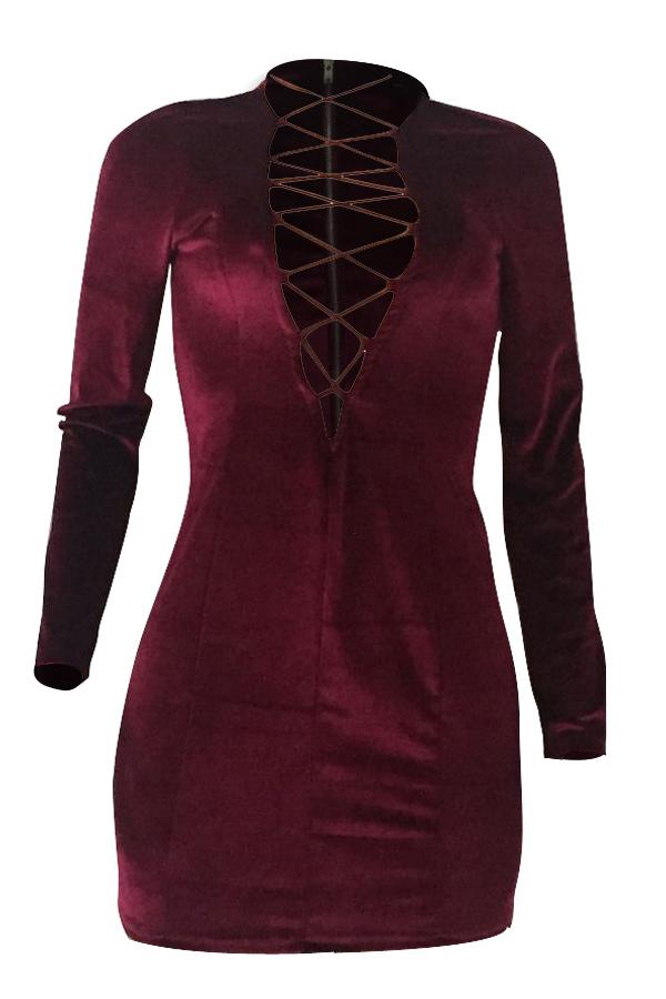 Sexy tiefem V-Ausschnitt aushöhlen Weinrot Samt Mantel Minikleid