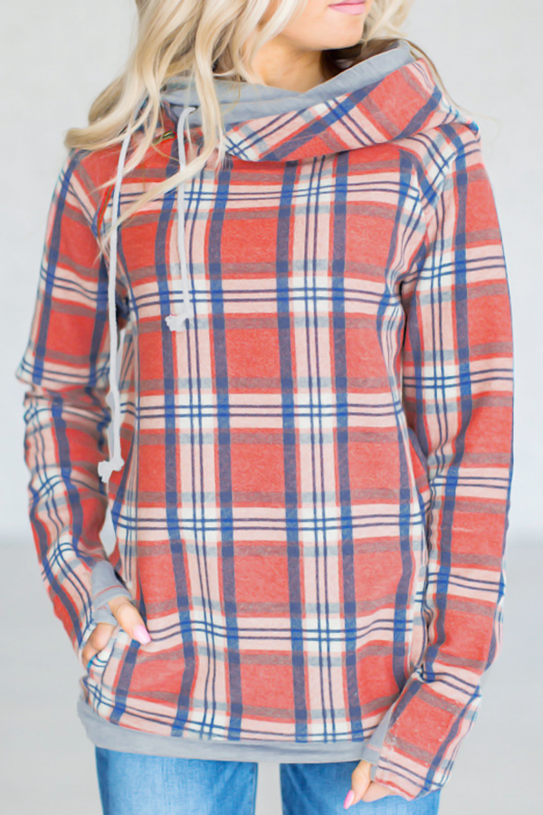 Stylish Printed Grid Cotton Blends Hoodies<br>