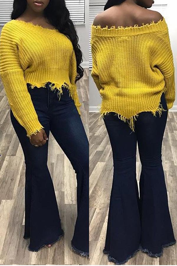 Euramerican Con Cuello En V, Dobladillos Irregulares, Suéteres De Lana Amarillos