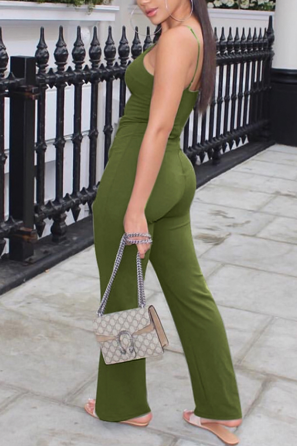 Sexy U Neck Buttoned Design Green Polyester One-piece Jumpsuits