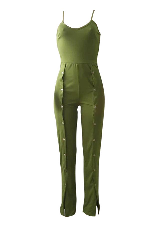 Sexy U Cuello Abotonado Diseño Poliéster Verde Monos De Una Pieza