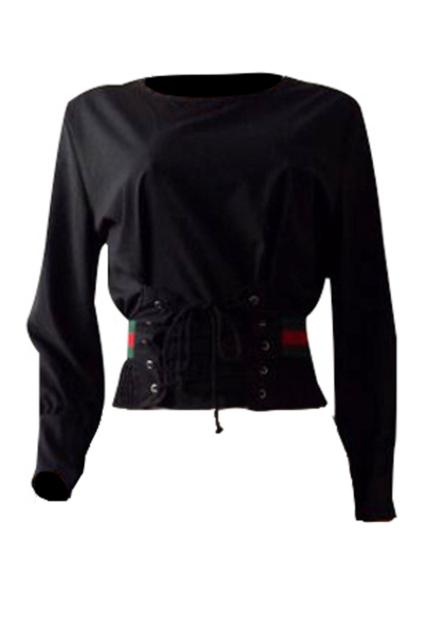 Euramerican Round Neck Bandage Printed Patchwork Black Cotton Shirts