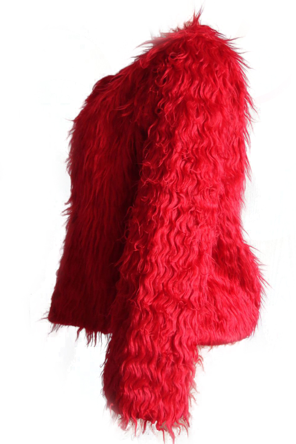 Euramerican Cuello Redondo Manga Larga Rojo Abrigo De Piel Sintética
