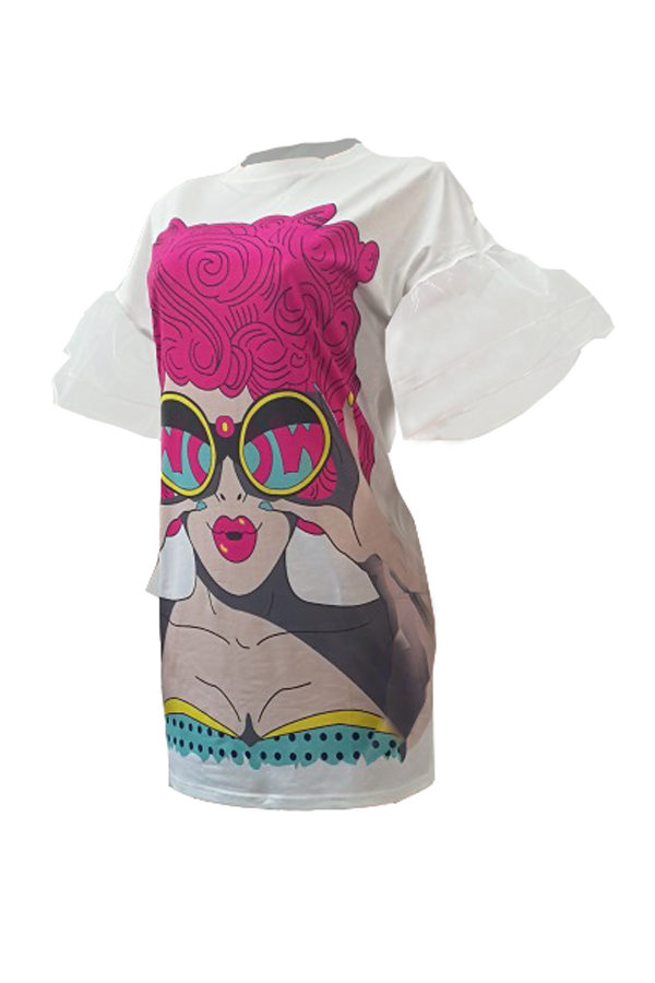 Trendy Round Neck Gauze Patchwork Printed White Polyester Mini Dress
