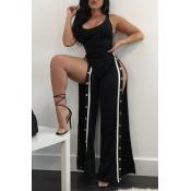Sexy Side Split Schwarz Polyester Einteiler Overalls