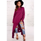Leisure Round Neck Long Sleeves Purple Cotton Blends Pullovers