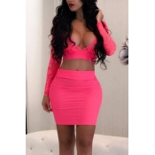 Sexy V Neck See-Through Rose Red Bud Silk Two-piece Skirt Set