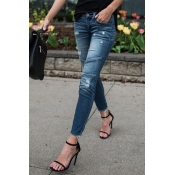Lovely Euramerican Patchwork Light Blue Denim Pant