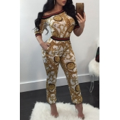 Euramerican Round Neck Printed Patchwork White Polyester Two-piece Pants Set