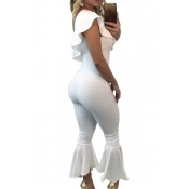 Trendy Dew Shoulder Falbala Design White Polyester One-piece Jumpsuits