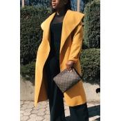 Trendy Turndown Collar Long Sleeves Yellow Cotton