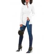 Euramerican Turndown Collar Long Sleeves White Polyester Shirts