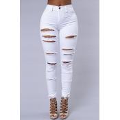 Elegante alta cintura rotos pantalones vaqueros blanco pantalones