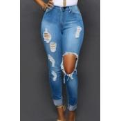 Стильный высокой талией Сломанные отверстия светло-синие брюки