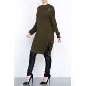 Stylish Round Neck Hollow-out Army Green Cotton Sw
