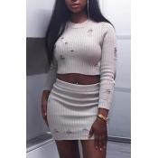 Trendy Round Neck Broken Holes Grey Cotton Blends Two-piece Skirt Set