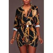 Trendy Turndown Collar Printed Black Healthy Fabric Mini Dress(Without Belt)
