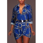 Colletto a tendina trendy stampato blu vestito blu tessuto (senza cintura)