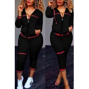 Leisure Turndown Collar Long Sleeves Zipper Design Black Knitting Two-piece Pants Set