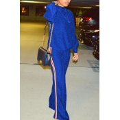 Stylish Round Neck Patchwork Blue Nylon Two-piece Pants Set