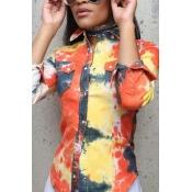 Euramerican Turndown Collar mangas compridas camisas de tecido elástico amarelo impresso