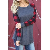 Lovely  Leisure Round Neck Patchwork Red Spandex T