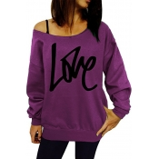 Leisure Round Neck Long Sleeves Letters Printing Purple Cotton Pullover