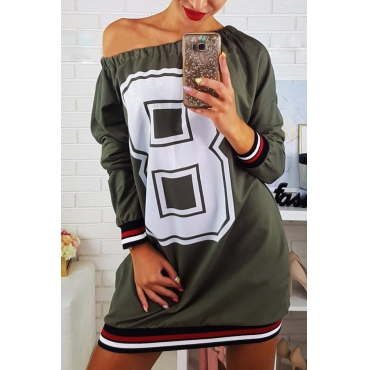Casual Dew Shoulder Printed Army Green Polyester Mini Dress