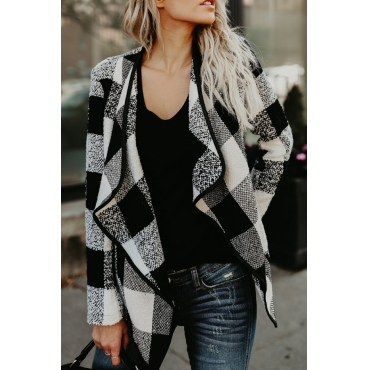 Stylish V Neck Plaids Black Polyester Coat