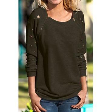 Lovely Leisure Round Neck Zipper Design Army Green Blending Pullovers