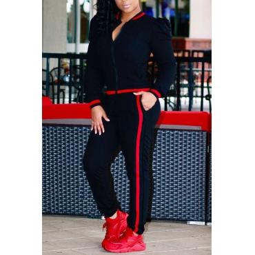 Leisure Round Neck Zipper Design Black Cotton Two-piece Pants Set