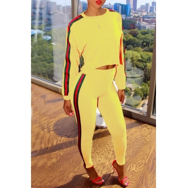 Leisure Round Neck Patchwork Yellow Blending Two-piece Pants Set