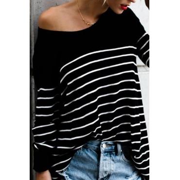 Freizeit Rundhals gestreiftes schwarzes T-Shirt