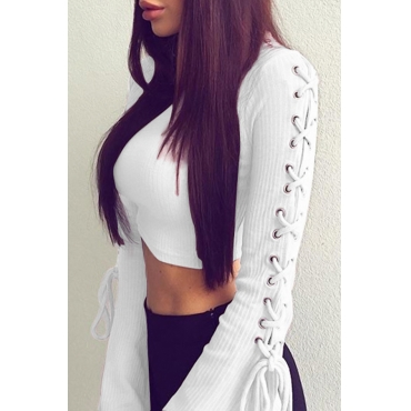Trendy Round Neck Lace-up White Cotton Sweaters