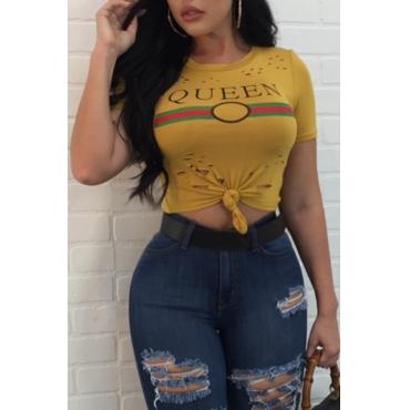 Leisure Round Neck Printed Broken Holes Yellow Cotton T-shirt