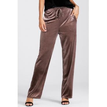 Pantaloni Pleuche in vita elastica Euramerican