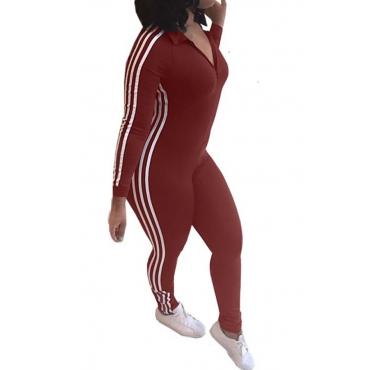 Freizeit Striped Patchwork Jujube-rot Polyester Einteiler Jumpsuits