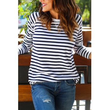 Lovely Leisure Round Neck Striped Black Blending T-shirt