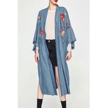 Trendy V Neck Embroidered Design Blue Cotton Blends Long Coat